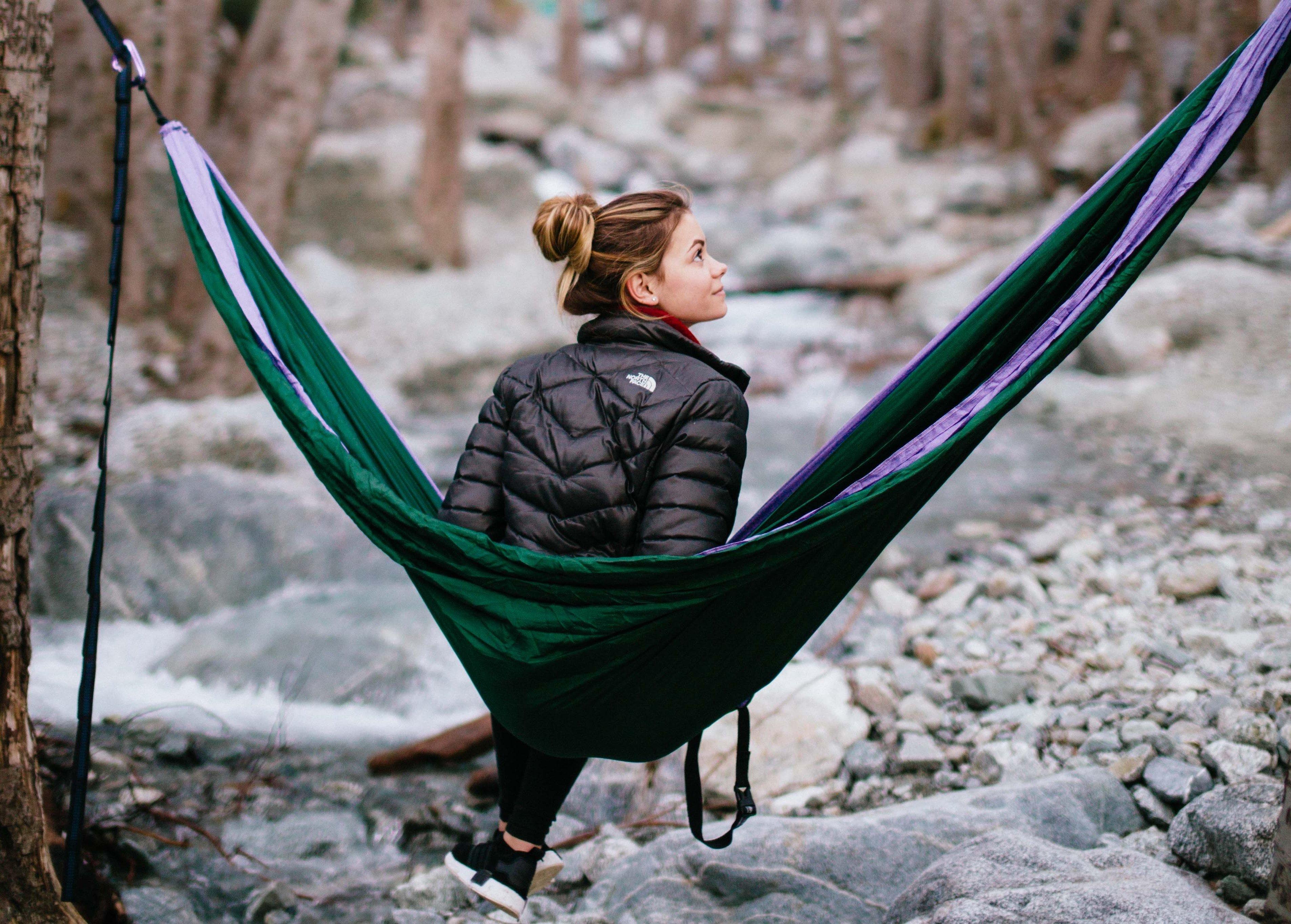 girl in hammock with birch trees edit