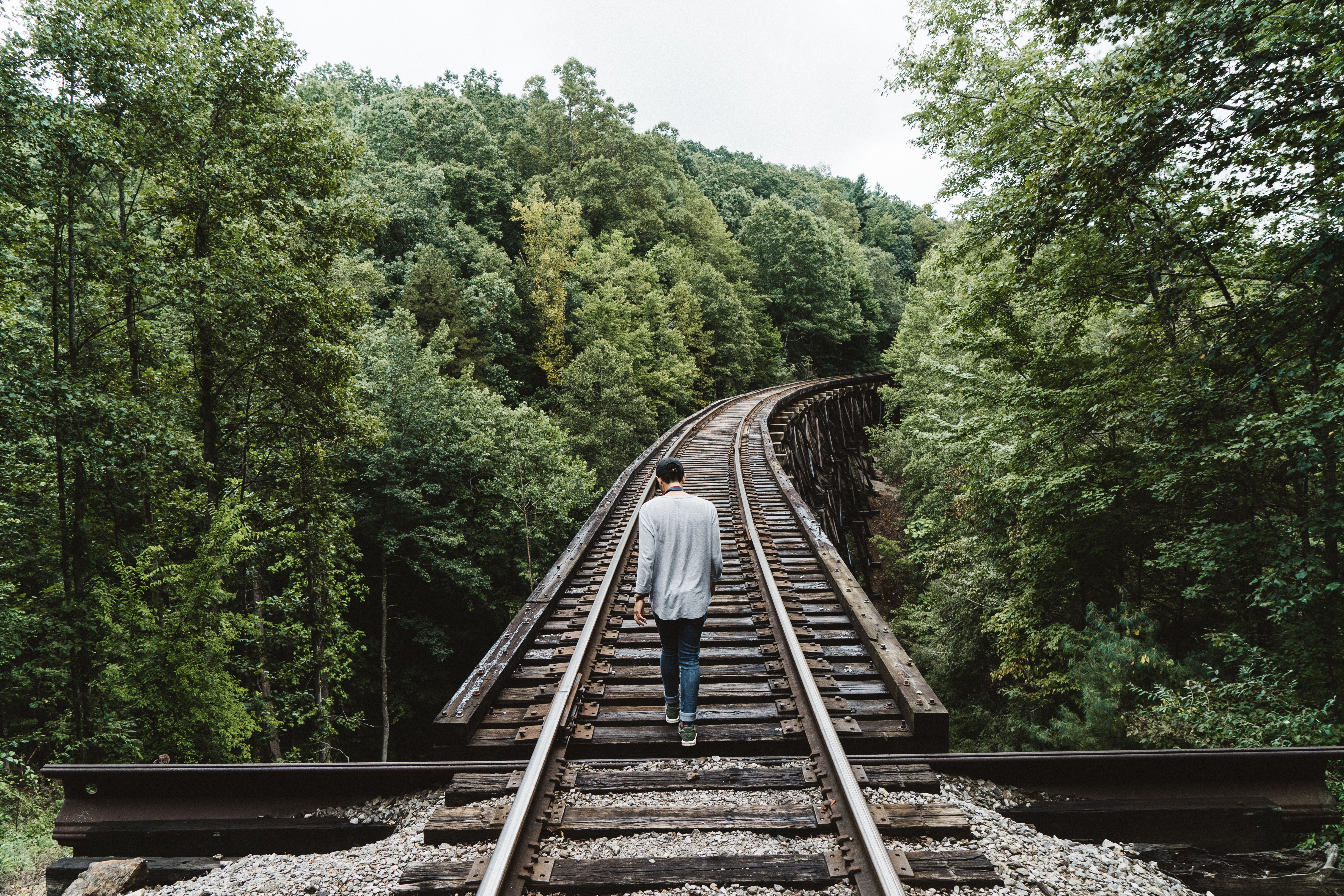 man walking on train tracks in middle of forest