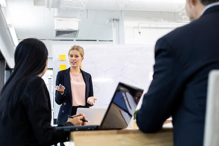 woman-offering-information-on-board-to-team